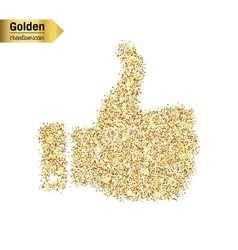 Gold glitter icon of thumbs up isolated on vector