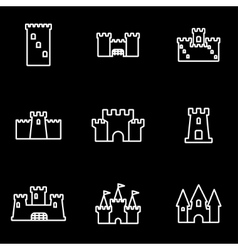 Line castle icon set vector