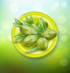 background with green olives on a green plate vector image vector image