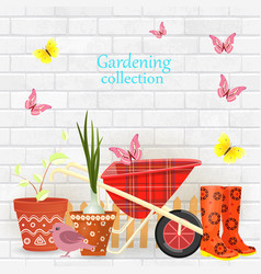 banner with gardening tools and equipments on vector image vector image