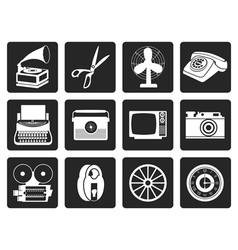 Black Retro business and office object icons vector image