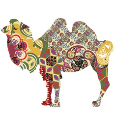 camel in ethnic patterns vector image