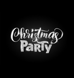 christmas party hand written lettering on black vector image vector image