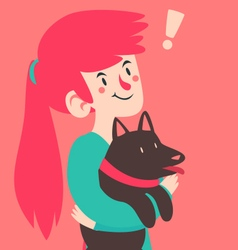 Cute girl having an insight while holding her dog vector
