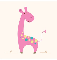 Cute pink giraffe character for baby room vector