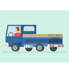 Delivery man drive a truck for shipment vector