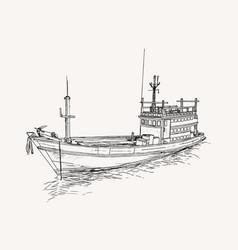 Drawing of fishing trawler at the sea sketch vector