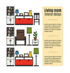 furniture for living room infographic vector image