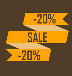 gold ribbon picture discounts for twenty percent vector image vector image