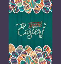 Happy easter greeting card dark green wooden vector