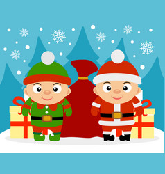 happy new year card with boy santa claus vector image