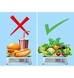 Healthy food versus junkfood vector image