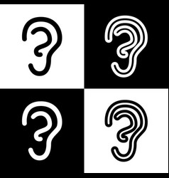 Human anatomy ear sign black and white vector