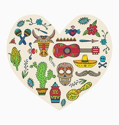 I love Mexico Set of Mexican traditional and vector image