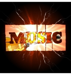 Music background with guitar and spark vector image