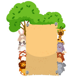 Paper template with cute animals on both sides vector