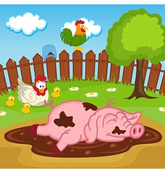 Pig sleeping in puddle vector