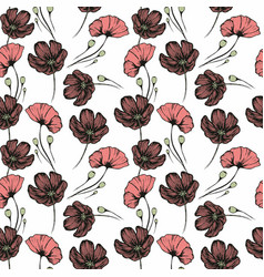 poppies seamless hand drawn pattern for the design vector image vector image