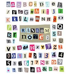 Ransom Note 2- Cut Paper Letters Numbers vector image vector image