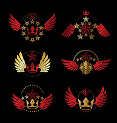 Royal crowns and vintage stars emblems set vector