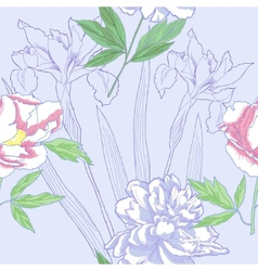 Seamless pattern with peonies and irises vector