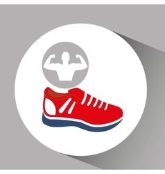 Silhouette man bodybuilder sneaker vector