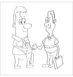 Sketch of a two businessmen shaking hands vector image