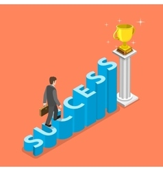 Stairs to success isometric concept vector image