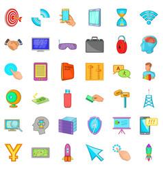 Web design icons set cartoon style vector