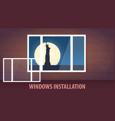 windows installation banner view from the window vector image