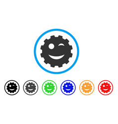 Wink smiley gear icon vector