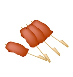 Yakitori negima or japanese grilled food on skewer vector