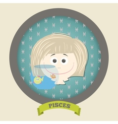 Zodiac signs collectioncute horoscope - pisces vector