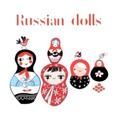 Set of russian dolls vector