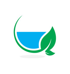 isolated abstract blue water in green leaf logo vector image