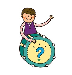 Close-up of boy playing with drum vector