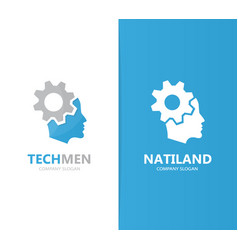 man and gear logo combination face and vector image