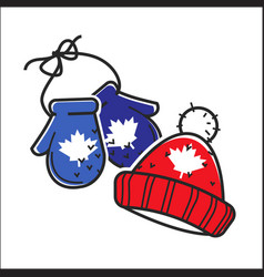 Canadian knitted wool hat and mittens vector
