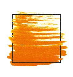 Grunge stamped rectangle frame on orange brush vector