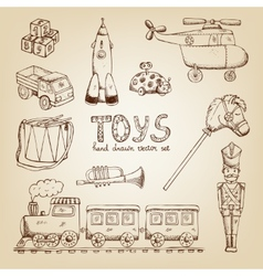 Vintage hand drawn toys vector