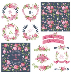 Floral set - frames ribbons backgrounds vector