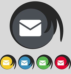 Mail envelope message icon sign symbol on five vector