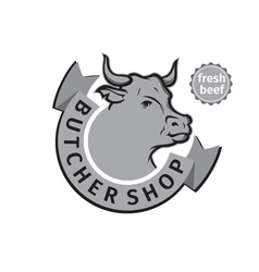 Label of butcher shop vector