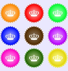 Crown icon sign a set of nine different colored vector