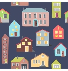 Pattern with different houses vector