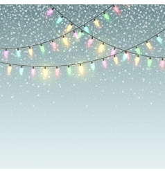 Christmas background with lights and snow vector