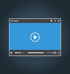 Template of interface of video player with icons vector