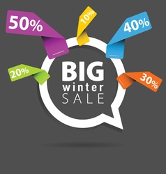 Winter sale with speech bubble and sticker percent vector