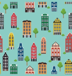 Vintage pattern with beautiful houses on a blue ba vector