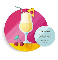 Pina colada drink recipe menu for cocktail party vector
